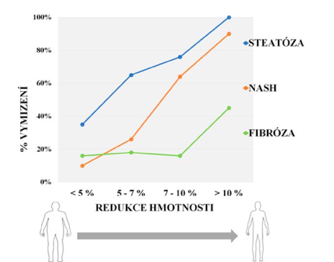 Vztah redukce tělesné hmotnosti a zlepšení histopatologického nálezu pacientů s NAFLD (modifikováno dle: 23, 34)