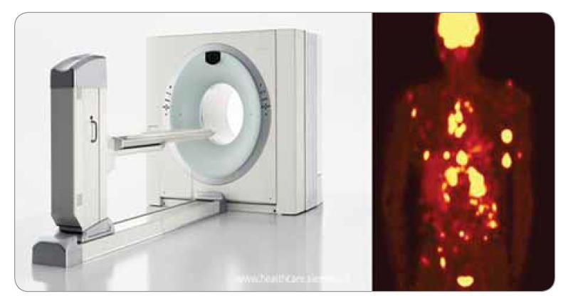 Pozitronová emisní tomografie/výpočetní tomografie.