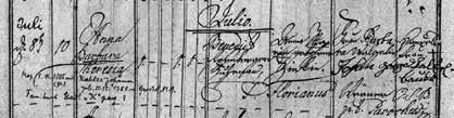 Zápis křtu Josefovy matky Anny Barbary Theresie Rosenbergerové (1786)