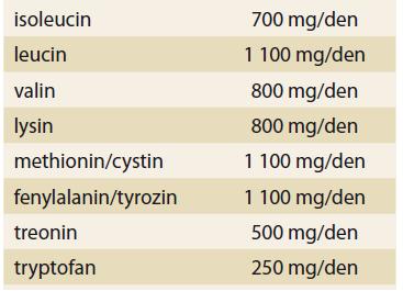 Minimální denní množství esenciálních aminokyselin u zdravých osob.<br> Tab. 4. Minimum daily amount of essential amino acids in healthy persons.