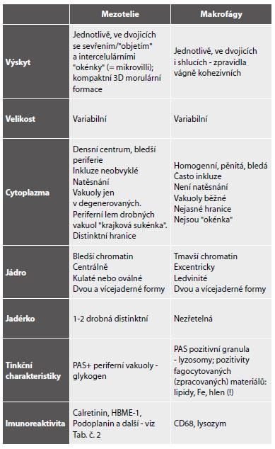 Shodné a rozlišující znaky mezotelií a makrofágů.