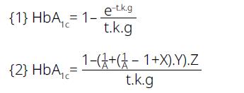 e – základ prirodzeného logaritmu (2.718) k – kinetická konštanta glykácie (podľa [4] 1,86.10-4 mmol/l.deň-1) g – glykémia v mmol/l t – doba života červených krviniek (120 dní)<br> A – nárast glykémie počas glykemickej epizódy oproti stabilnej X = e-k g. (120-t1) Y = e-k.g.A. (t1-t0) Z = e-k.g.t0; kde t0 a t1 – deň začiatku a konca hyperglykemickej epizódy