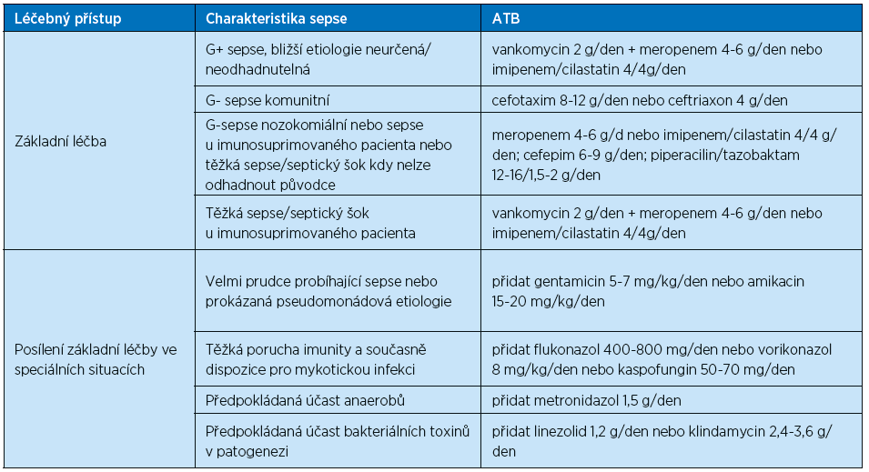 Iniciální ATB léčba těžké sepse / septického šoku (Beneš J. Antibiotická terapie sepse, 2015)