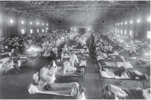 Španělská chřipka – pacienti v Camp Funston v Kansasu v roce 1918