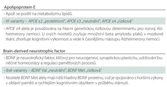 Funkce ApoE a BDNF a jejich polymorfismů.
