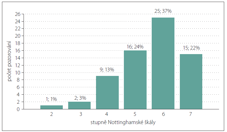 Sloupkový diagram absolutních a relativních četností stupňů Nottinghamské škály.<br>