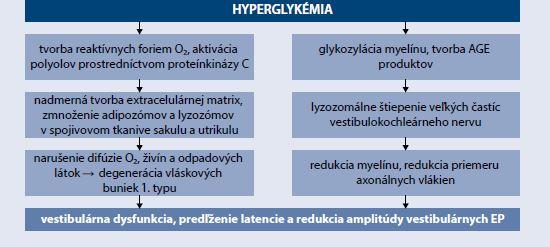 Schéma | Mechanizmus vzniku vestibulárnej dysfunkcie pri DM. Upravené podľa [26]