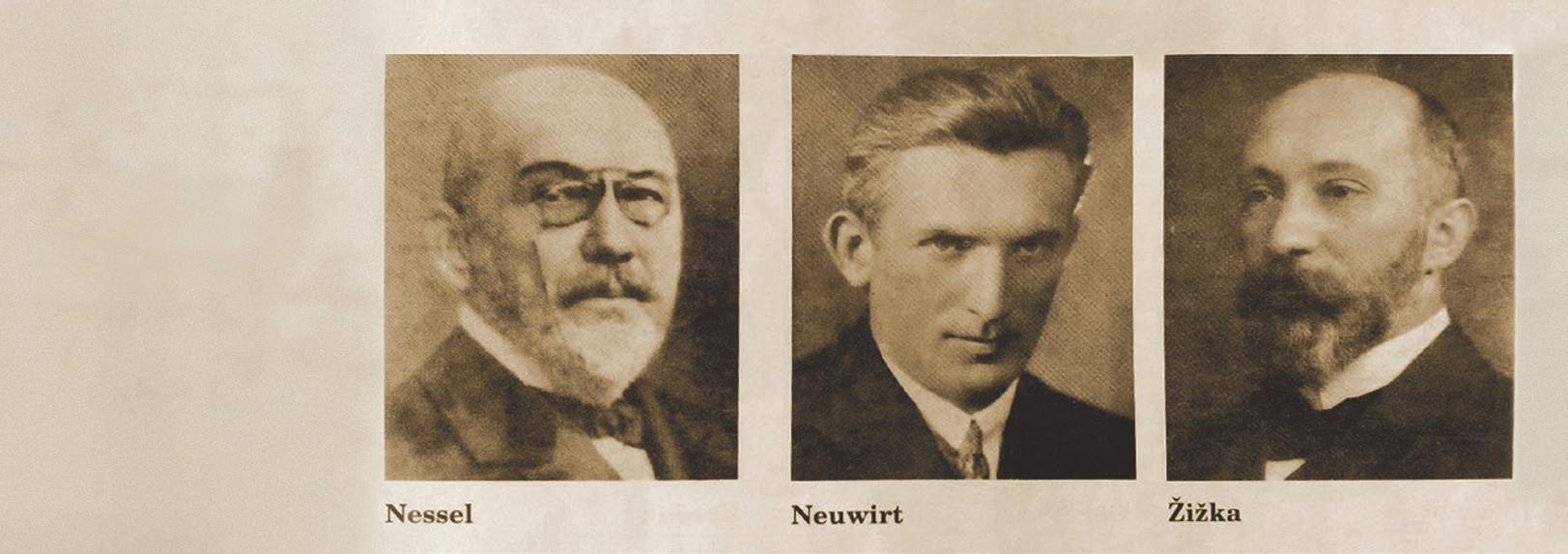 Vedoucí redaktoři časopisu Zubní lékařství: Eduard Nessel, František Neuwirt, Josef Žižka.