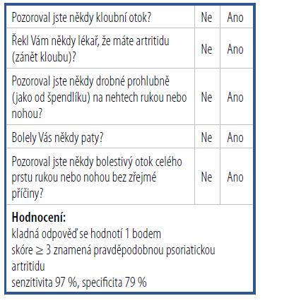 Dotazník PEST<br> (Psoriasis Epidemiology Screening Tool)