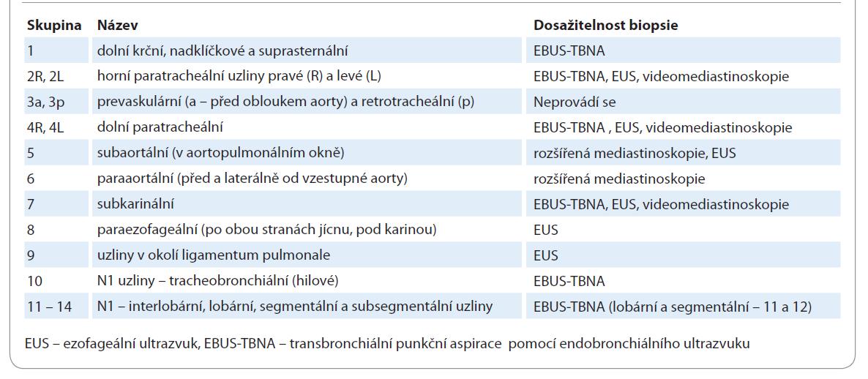 Klasifikace mediastinálních uzlin a možnost biopsie.