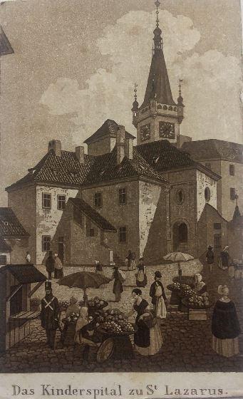 Špitál sv. Lazara na obrázku V. Jansy na Karlově Náměstí v Praze. Na místě špitálu dnes stojí budova soudu.