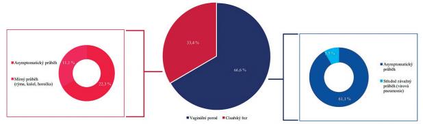 Procentuální zastoupení způsobů porodu a klinických příznaků žen s nemocí COVID-19.