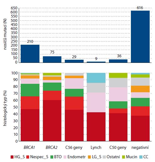 Zastoupení histologických typů u nosiček mutací v predispozičních genech.