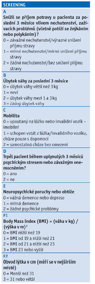 Mini Nutritional Assessment Short Form dle Guigoze, 2009.