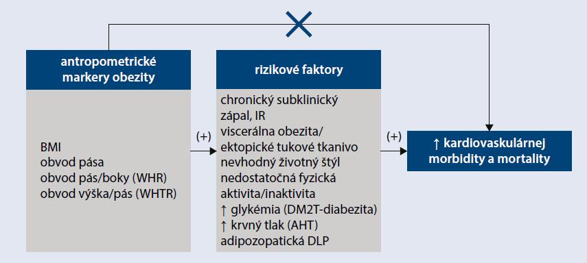 Schéma 1 | Vzťah medzi obezitou/diabezitou, rizikovými faktormi a nárastom KV-morbidity a mortality vo všeobecnej populácii. Upravene podľa [19]