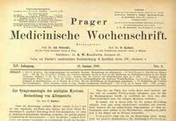 Článek o mnohočetném myelomu v pražském lékařském týdeníku (1889)