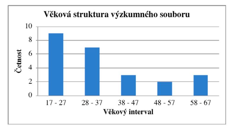 Věková struktura výzkumného souboru respondentů