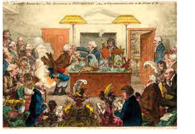 """Karikatura Jamese Gillraye z r. 1802 na demonstrace účinků oxidu dusného nazvaná """"Vědecký výzkum! Nové objevy v Pneumatickém institutu!"""" Humphry Davy je u stolku vpravo a drží měch s plynem. Zdroj: Wikimedia Commons (CC BY 4.0)"""
