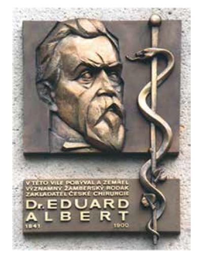 Pamětní deska prof. E. Alberta umístěná na Albertově vile, dílo akademického sochaře Zdeňka Kolářského z roku 1995 (foto H. Sklenková)