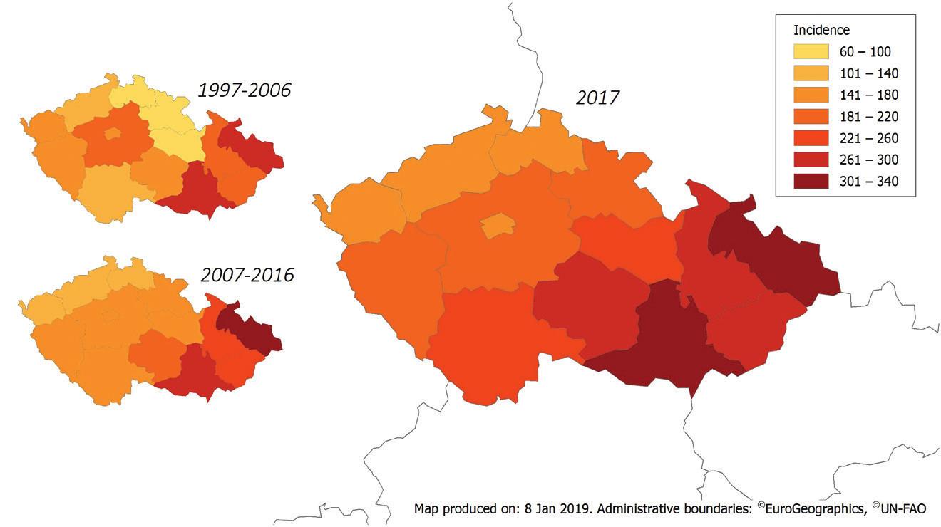 Průměrná roční incidence kampylobakteriózy v obdobích 1997–2006 a 2007–2016 a incidence v roce 2017 v ČR podle jednotlivých krajů, EpiDat<br> Figure 3. Average annual incidence of campylobacteriosis in the Czech Republic in 1997–2006 and 2007–2016 and distribution of cases by administrative region in 2017, EpiDat