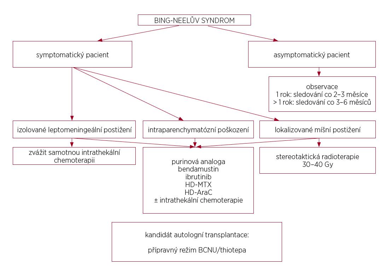 Algoritmus 3 Konsenzuální doporučení léčby Bing-Neelova syndromu (upraveno podle [Minnema, 2017])