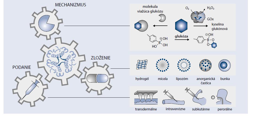 Schéma 2   Schéma mechanizmu, systémov a spôsobov dodávania inzulínu reagujúceho na glukózu.<br> Upravené podľa [5]