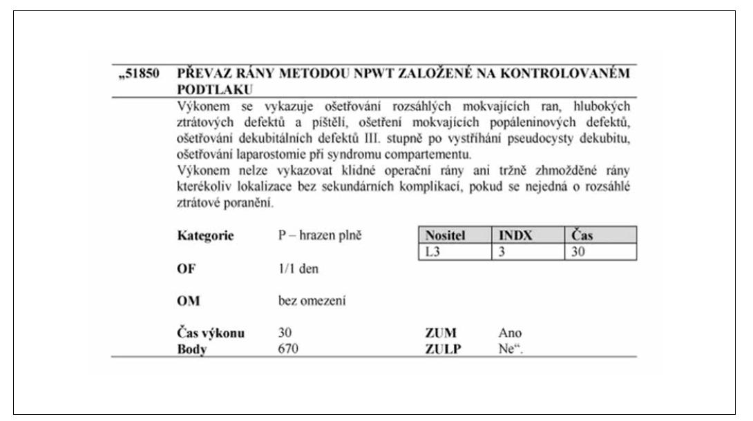 Obr. 13 Kód výkonu NPWT v sazebníku výkonů