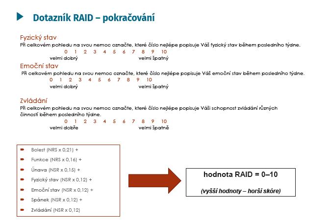 Dotazník RAID – hodnocení<br> NRS – numderická hodnotící škála (Numeric Rating Scale)