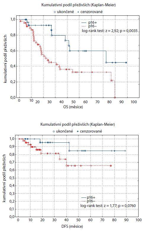 Graf 1, 2. Kaplan-Meierův odhad funkce přežití pro dvě skupiny pacientů rozlišených podle statusu p16. OS – celkové přežití, DFS – přežití bez nemoci