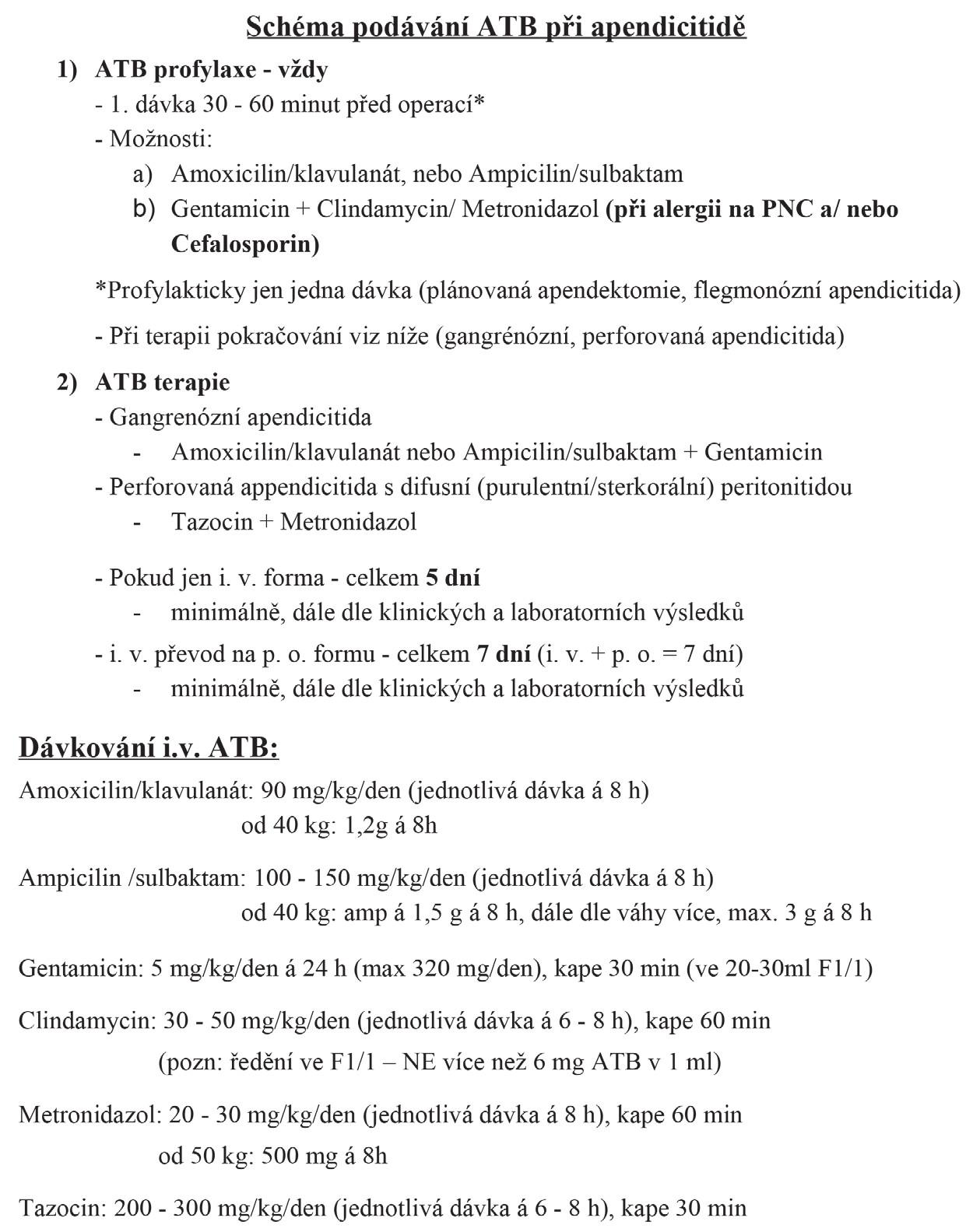 Schéma ATB profylaxe a terapie při apendicitidě na Klinice dětské chirurgie FN Motol