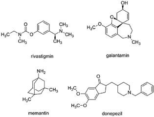 Vybraná klinicky užívaná léčiva pro léčbu neurodegenerativních chorob cílených na AD – memantin, galantamin, donepezil a rivastigmin