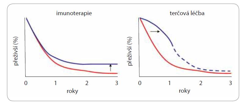 Rozdíl ve tvaru křivek přežití – chemoterapie, terčová léčba a imunoterapie [69].