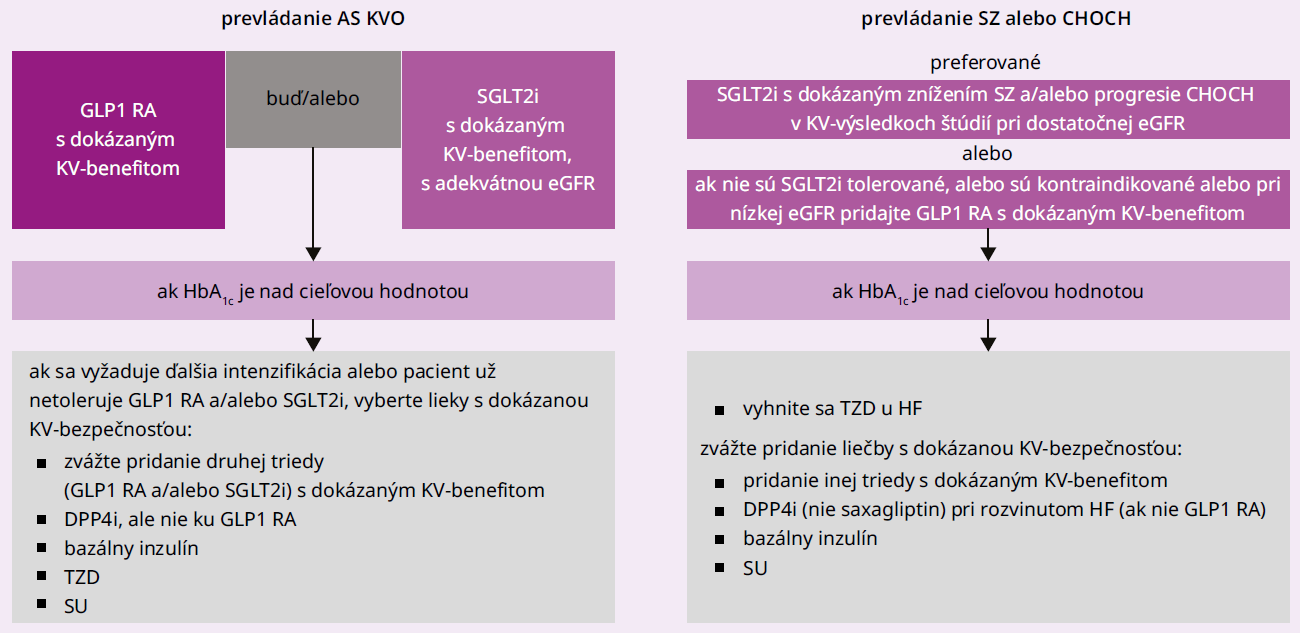 Schéma 2   Lieky druhej línie u pacientov s DM2T a potvrdeným KV-postihnutím, chronickým obličkovým ochorením alebo srdcovým zlyhávaním