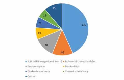 Příčiny náhlé srdeční smrti ve věku 1–35 let vDánsku vletech 2000– 2006 na základě pitevních nálezů. Celkový počet 314.