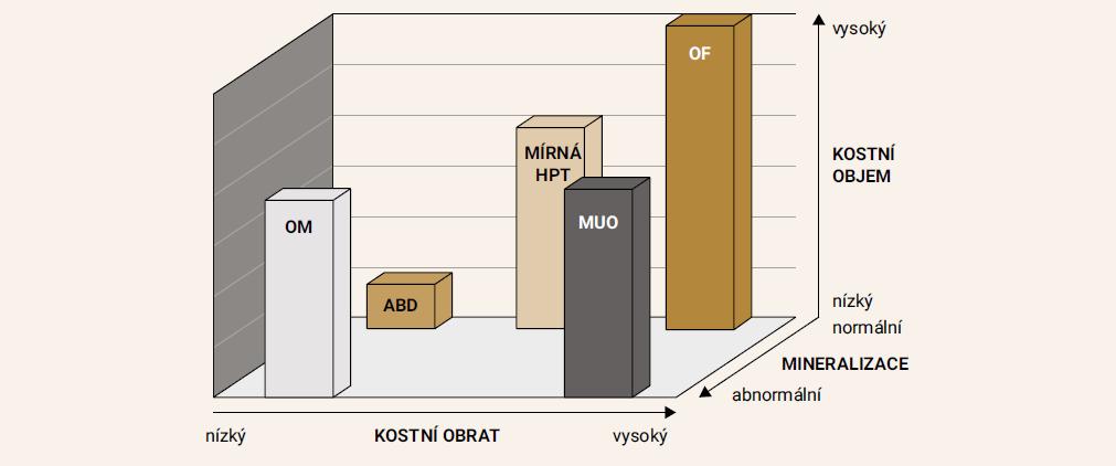 TMV (kostní obrat, mineralizace, objem) klasifikační systém kostní histomorfometrie. Každá z os reprezentuje jeden z parametrů TMV klasifikace (T – kostní obrat – nízký až vysoký, M – mineralizace, od normální po abnormální a V – objem, nízký až vysoký). Každá z osteopatií v rámci renální osteodystrofie je definována různě vyjádřenými parametry TMV. Upraveno podle [5]