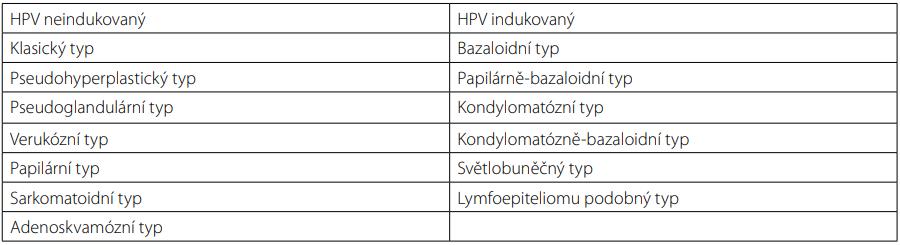 WHO 2016 klasifikace dlaždicobuněčného karcinomu penisu (10)<br> Tab. 1. The 2016 WHO classification of penile squamous cell carcinoma