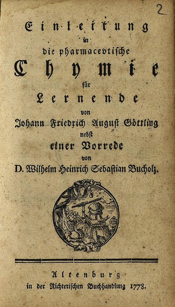 Titulní list Göttlingova spisu Einleitung in die pharmazeutische Chemie für Lernende z roku 1778