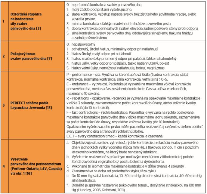 objektívne vyšetrenie funkčného stavu svalov panvového dna palpačne a perineometrom