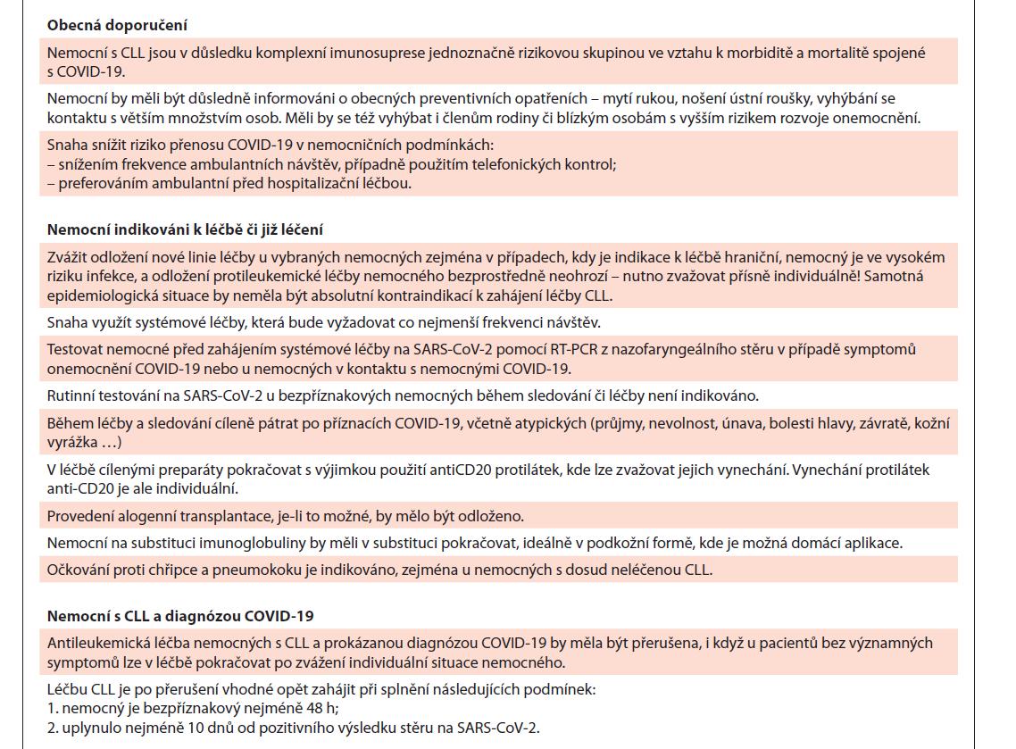 Doporučení ČSCLL ohledně infekce COVID-19 u nemocných s CLL.