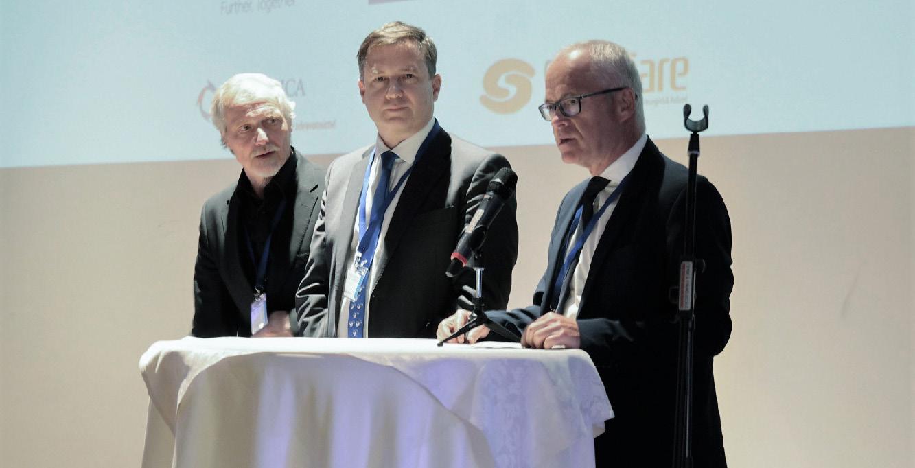 Zahájení sympózia, prof. Hanuš, prof. Hora, prof. Babjuk (zleva doprava)<br> Fig. 1. Symposium opening, prof. Hanuš, prof. Hora, prof. Babjuk (from left to right)