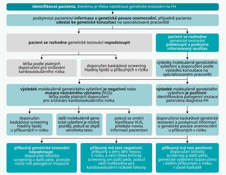 Schéma 3 | Postup genetického testování probanda a jeho rodinných příslušníků