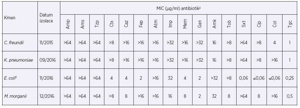 Hodnoty MIC vybraných antibiotik při prvním záchytu enterobakterií produkujících karbapenemázu typu KPC-2<br> Table 1. MICs of selected antibiotics at the time of the first detection of KPC-2-producing enterobacteria