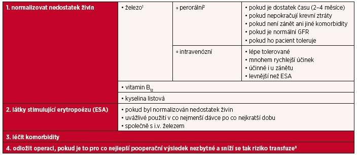 Léčba předoperační anemie