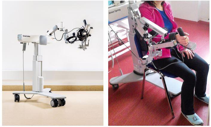 Obr. 1, 2 Robotický přístroj Armeo Spring. Zdroj: Hocoma, Switzerland (vlevo), vlastní (vpravo)