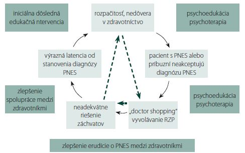 "Circulus vitiosus iatrogenizácie pacientov s psychogénnymi neepileptickými záchvatmi – možné východiská. PNES – psychogénne neepileptické záchvaty; RZP – rýchla zdravotná pomoc ←""malígnejšia"" forma circulus vitiosus, keď diagnóza PNES nie je ani suponovaná Fig. 1. Vicious circle of iatrogenesis in patients with psychogenic non-epileptic seizures – possible solutions. PNES – psychogenic non-epileptic seizures; RZP – emergency medical services ←more ""malignant"" version of the vicious circle, when diagnosis of PNES is not suspected, at all"