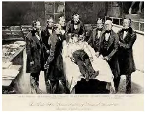 Prvá demonstrace éterové anestezie 16. 10. 1846. Zdroj: Wikimedia Commons (CC BY 4.0)