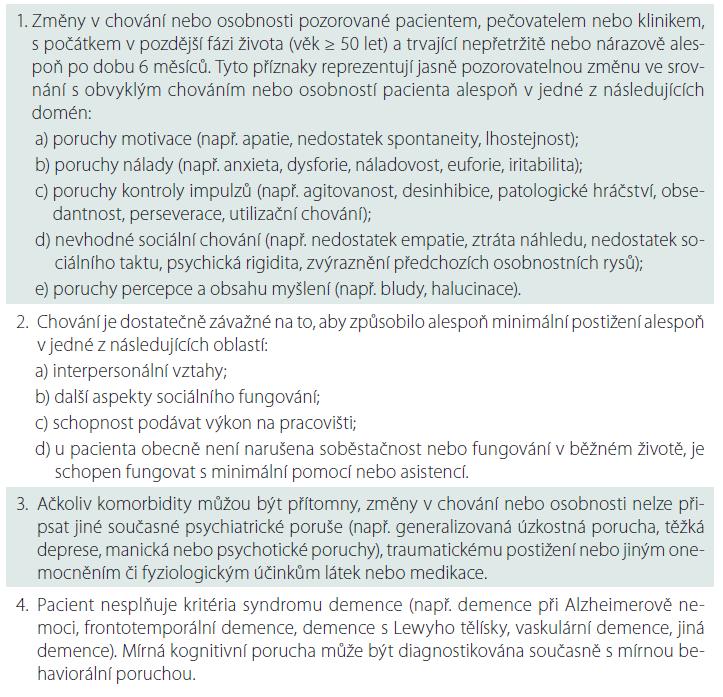 Kompletní diagnostická kritéria mírné behaviorální poruchy.
