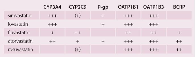 Metabolizace statinů na oxidázách cytochromu P450 a jejich přenos na transportních proteinech.