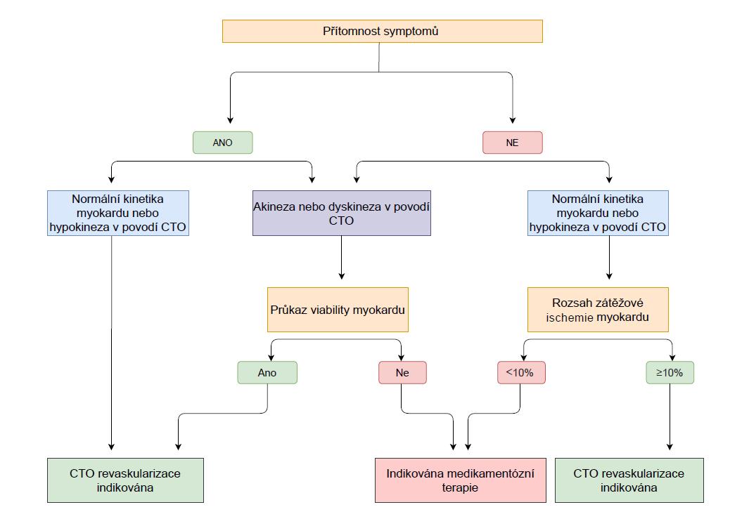 Vyšetřovací algoritmus u pacienta s CTO – indikace revaskularizace na základě symptomů, rozsahu ischemie a přítomnosti viability myokardu Pozn.: převzato z Galassi AR et al., Eur Heart J 2016; 37(35): 2692–2700 (30)