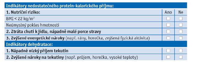 Příklad geriatrického nutričního screeningu, přeloženo a upraveno dle Volkertové, 2009.